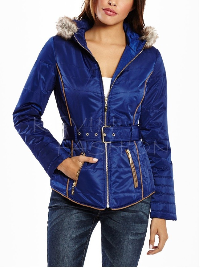 Guess bunda Graham Faux-Fur-Trim Blue