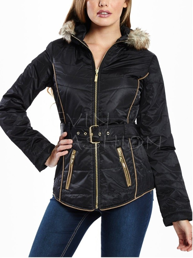 Guess bunda Graham Faux-Fur-Trim Black