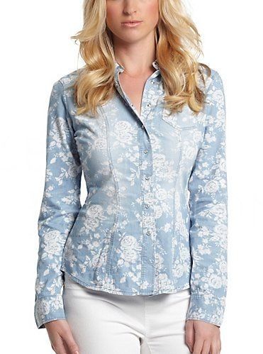 Košile GUESS Kya Floral Denim Shirt