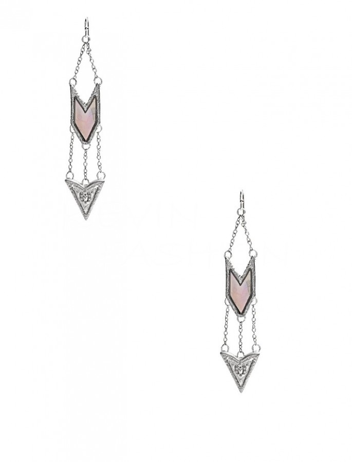 Guess náušnice Silver-Tone Pearlescent Drop Earrings