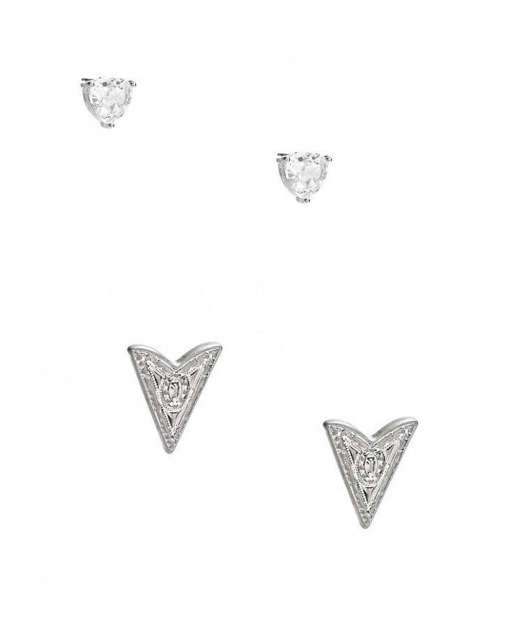Guess náušnice Silver-Tone Rhinestone and Arrow  Set