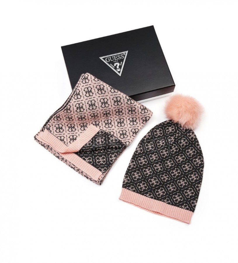 Guess 4-G Logo Beanie and Scarf set Pink  a4beff457e